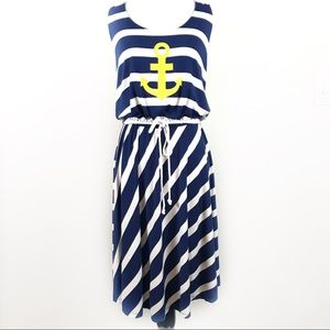 Sperry Anchor Dress Nautical Stripe Keyhole Back L